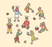 personagens da Páscoa. as pessoas usam tiaras de coelho e procuram ovos de páscoa. ilustração em vetor mínimo estilo design plano.