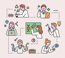 os médicos estão trabalhando por conta própria e estão todos conectados. ilustração em vetor mínimo estilo design plano.