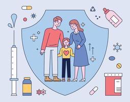 vacinas e medicamentos protegem a família. ilustração em vetor mínimo estilo design plano.