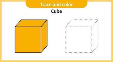 traço e cubo de cor vetor