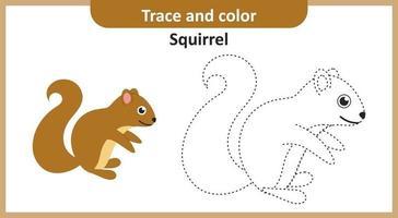 traço e esquilo de cor vetor
