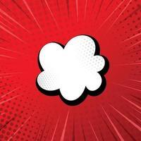zoom cômico vermelho com linhas, pontos e elementos brancos - vetor