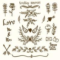 Ornamentos decorativos de casamento vetor