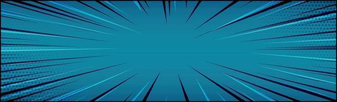 zoom panorâmico em quadrinhos azul com linhas - vetor