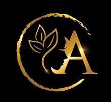 letra inicial a de beleza dourada vetor