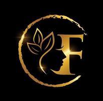 letra f inicial da beleza dourada vetor
