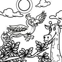 Animais de livro para colorir 2 vetor