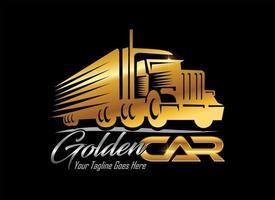 logotipo dourado de veículo de caminhão vetor