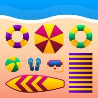 Acessórios das férias das férias de verão na ilustração de Sandy Beach. vetor