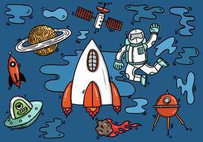 astronauta nave espacial alienígena no espaço vetor