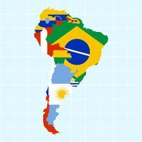 Vetores modernos exclusivos do mapa da América do Sul