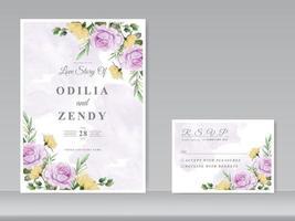 modelo de cartão de convite de casamento com uma linda mão floral desenhada vetor