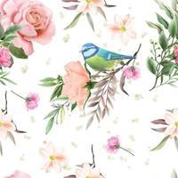 lindo padrão floral e pássaro sem costura vetor