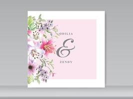 convite de cartão de casamento com bela mão floral desenhada vetor