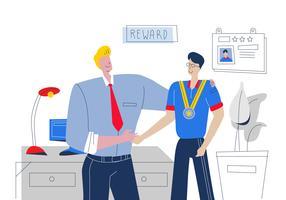 Bom chefe recompensa o melhor empregado Vector plana ilustração