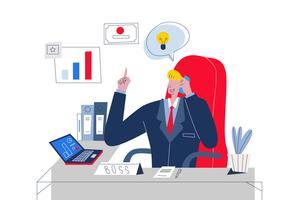 Chefe bonito gerenciar empresa na ilustração em vetor de mesa de escritório