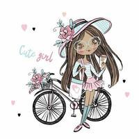 menina adolescente de pele escura na moda bonita com um chapéu com uma bicicleta. Minha vida. vetor.