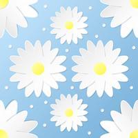 Ofício de papel 3D flores padrão sem emenda vetor