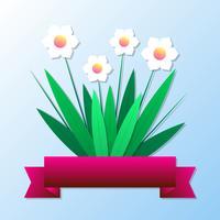 Flores de primavera de corte de papel para cartão e modelo de plano de fundo do feriado vetor