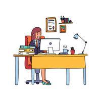 Garota chefe em sua mesa vetor