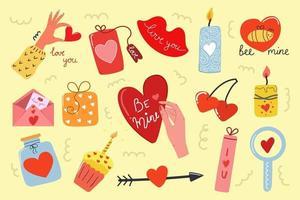 grande conjunto de elementos de amor de mão desenhada. conceito de dia dos namorados. ilustração plana moderna. vetor