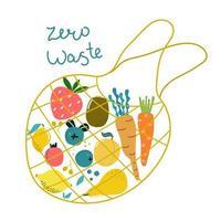 mão desenhada eco saco com legumes e frutas e texto zero resíduos. ilustração moderna isolada em design plano.