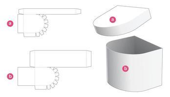 caixa redonda de um lado com molde recortado de tampa vetor