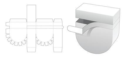 fechando o fundo redondo do molde da caixa de embalagem cortada vetor