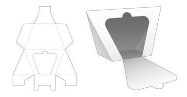 modelo de corte e molde para embalagem trapezoidal triangular com fecho de correr vetor
