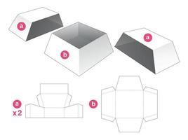 tigela em forma de trapézio com 2 tampas molde recortado vetor