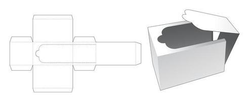 molde de caixa retangular com zíper e corte e vinco vetor