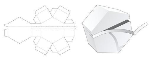 embalagem hexagonal com molde de corte e vinco vetor