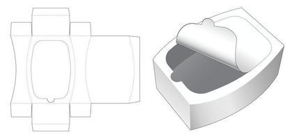 caixa redonda com molde de corte e zíper superior vetor