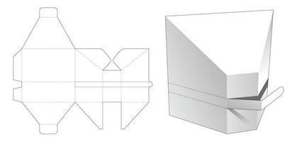 caixa em forma de prisma com molde de corte e vinco vetor