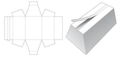 caixa trapezoidal com molde de corte e vinco superior vetor