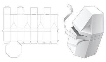 caixa octogonal chanfrada com molde de corte e vinco vetor