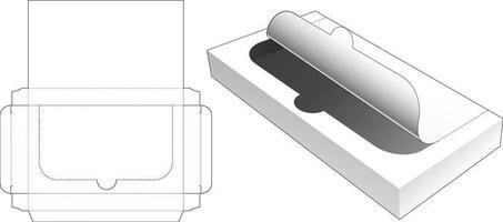 zipando molde retangular de estanho para embalagem cortada vetor