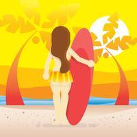 Praia vagabundo e menina com prancha de surf, praia e pôr do sol ilustração