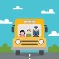Ônibus escolar bonito com natureza cena com crianças e velho dentro para voltar para a escola vetor