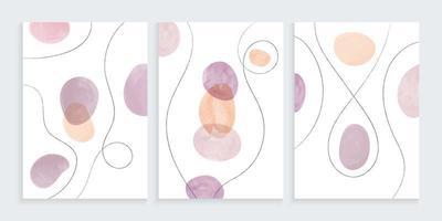 formas orgânicas em aquarela com desenho de linhas à mão livre vetor