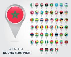 alfinetes de bandeira redonda da áfrica, ponteiros de mapa vetor