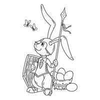 cavaleiro coelhinho com uma lança e escudo. vetor