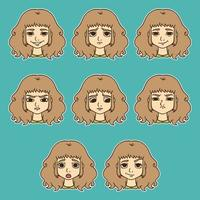 conjunto de emoções da mulher. expressão facial. vetor