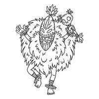 dançarina tribal. página para colorir. vetor
