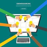 crowdsourcing de conceito de design plano vetor