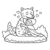 garota de capuz abraçando o lobo. vetor