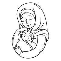 mãe muçulmana segurando o bebê. vetor
