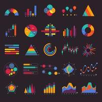 vetor definido gráfico de negócios e gráfico infográfico diagrama. conceito de design plano.