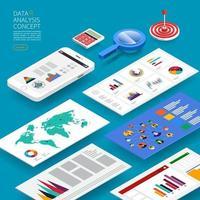 análise de dados de conceito de design plano. visualize com gráfico e gráfico de crescimento de marketing. ilustração vetorial. vetor