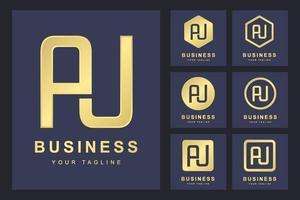 conjunto de abstrato inicial letra au, modelo de logotipo dourado. logotipo para negócios, pessoal, organização. vetor